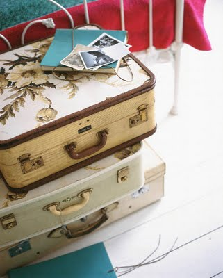 Living etc, vintage suitcases as storage and talbe
